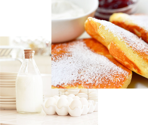 牛乳と卵のイメージ